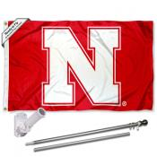 Nebraska Huskers Flag and Bracket Flagpole Set