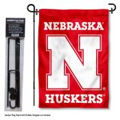 Nebraska Huskers Garden Flag and Holder