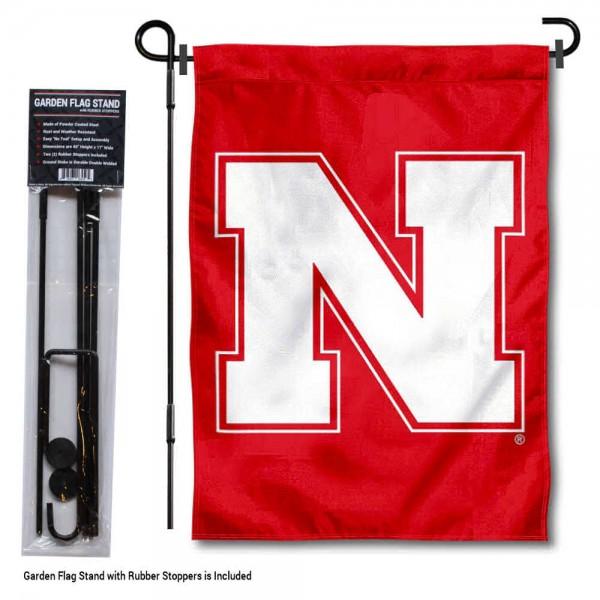 Nebraska Huskers N Logo Garden Flag and Holder
