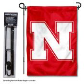 Nebraska Huskers N Logo Garden Flag and Holder