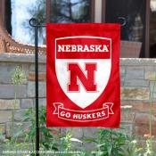 Nebraska Huskers Shield Garden Flag
