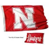 Nebraska Huskers Two Logo Flag
