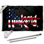 Nebraska Huskers USA Patriotic Flag and Bracket Flagpole Set