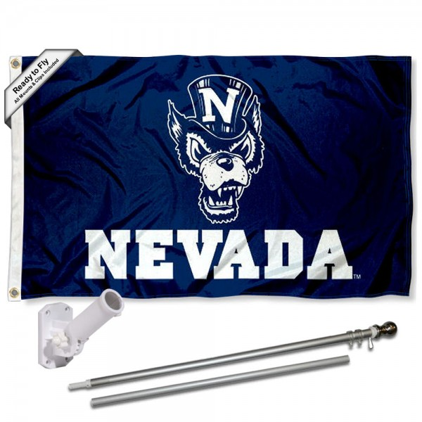 Nevada Wolfpack Flag and Bracket Flagpole Set