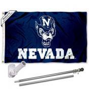 Nevada Wolfpack Flag and Bracket Flagpole Set