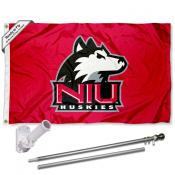 NIU Huskies Flag and Bracket Flagpole Set