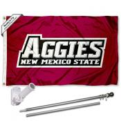 NMSU Aggies Logo Flag and Bracket Flagpole Set