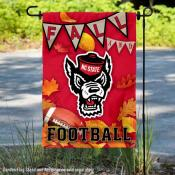 North Carolina State University Wolf Pack Fall Leaves Football Double Sided Garden Banner