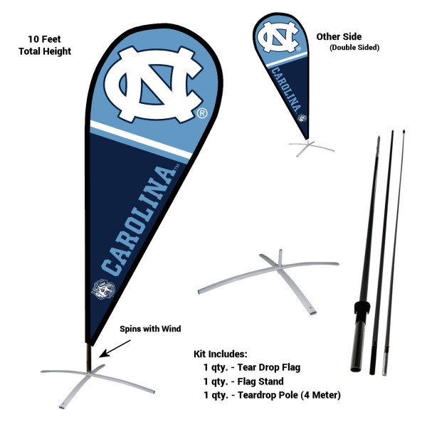 North Carolina Tar Heels Teardrop Flag and Stand Kit