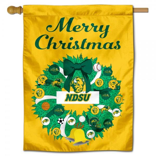 North Dakota State Bison Christmas Holiday House Flag
