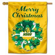 North Dakota State Bison Christmas Holiday House Flag