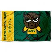 North Dakota State Bison Tokyodachi Cartoon Mascot Flag