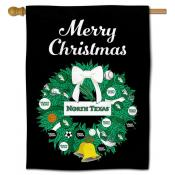 North Texas Mean Green Christmas Holiday House Flag