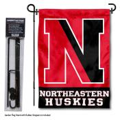 Northeastern Huskies Garden Flag and Yard Pole Holder Set