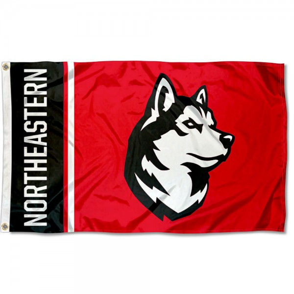 Northeastern Huskies Logo 3x5 Foot Flag