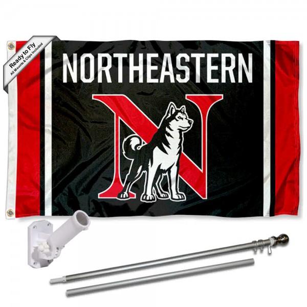 Northeastern Huskies Logo Flag and Bracket Flagpole Kit