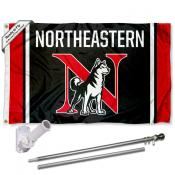 Northeastern Huskies Logo Flag and Bracket Flagpole Kit