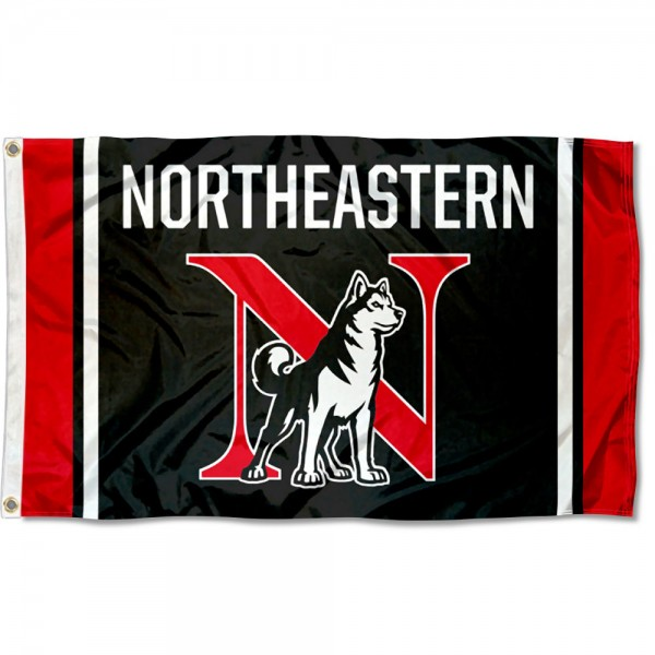 Northeastern Huskies N Logo Black 3x5 Foot Flag