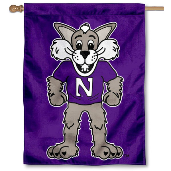 Northwestern University Mascot Willie Logo House Flag