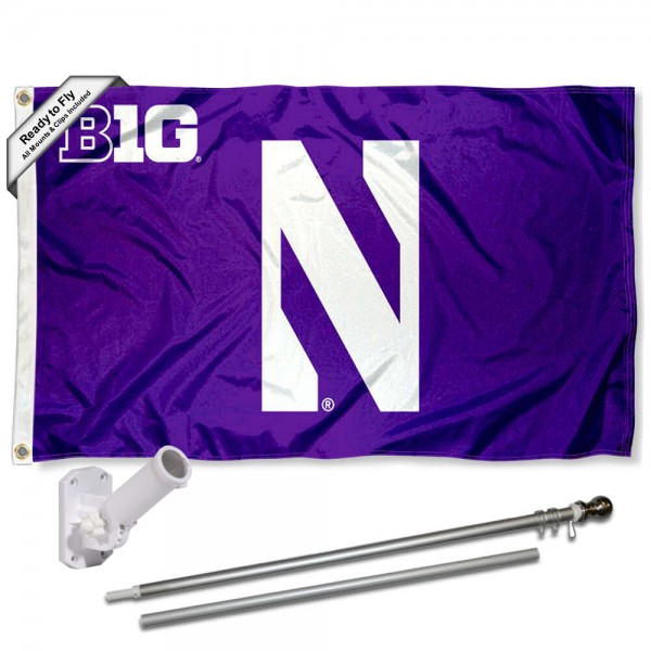 Northwestern Wildcats Big 10 Conference Flag and Bracket Flagpole Set