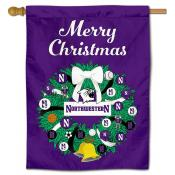 Northwestern Wildcats Christmas Holiday House Flag