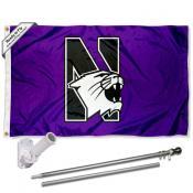 Northwestern Wildcats Flag and Bracket Mount Flagpole Set