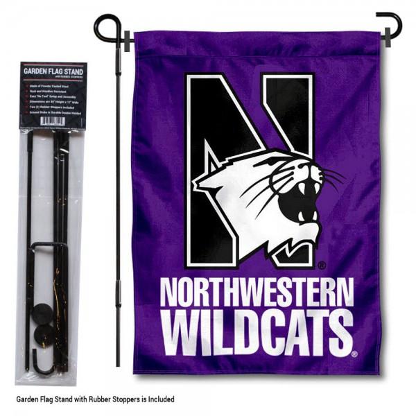 Northwestern Wildcats Garden Flag and Holder