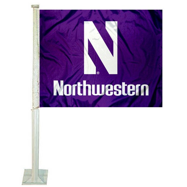 Northwestern Wildcats Logo Car Flag