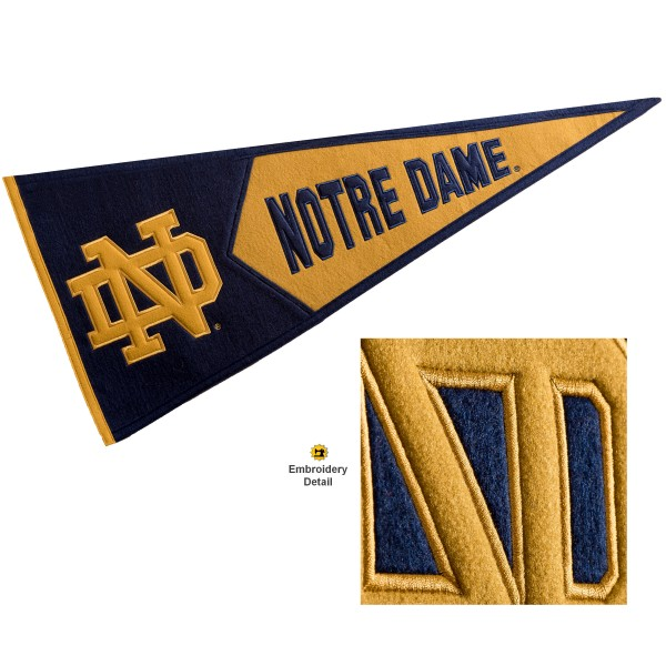 Notre Dame Embroidered Wool Pennant