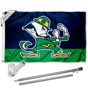 Notre Dame Fighting Irish Mascot Logo Flag and Bracket Flagpole Kit
