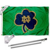 Notre Dame Fighting Irish Shamrock Logo Flag and Bracket Flagpole Kit
