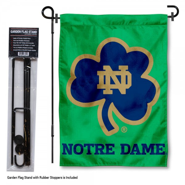 Notre Dame Garden Flag and Holder