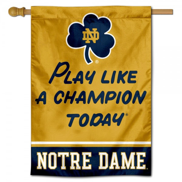 Notre Dame Play Like A Champion Banner Flag