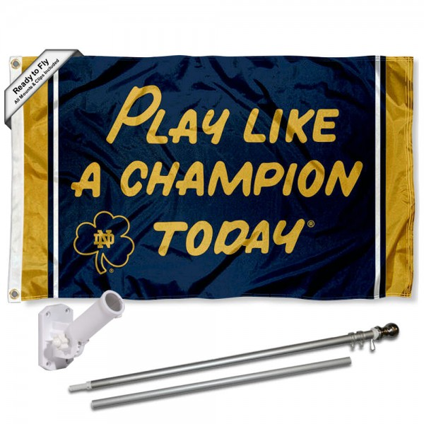 Notre Dame Play Like A Champion Today Sign Flag and Bracket Flagpole Kit
