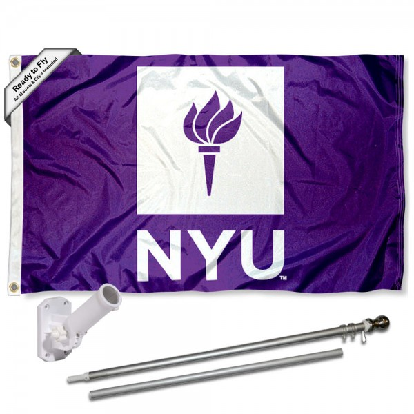 NYU Violets Logo Flag and Bracket Flagpole Kit