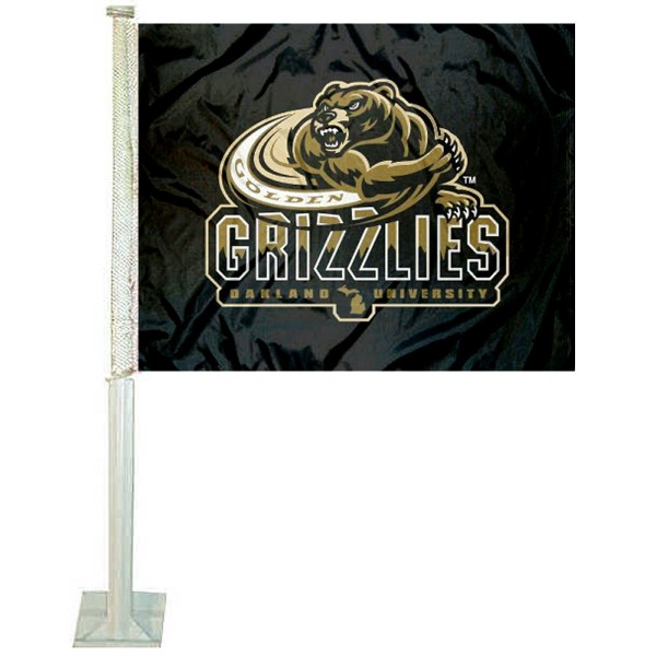 Oakland OU Golden Grizzlies Car Flag