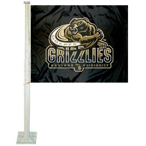 Oakland OU Golden Grizzlies Car Flag