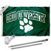 Ohio Bobcats Flag and Bracket Mount Flagpole Set