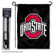 Ohio State Buckeyes Black Garden Flag and Holder