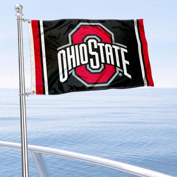 Ohio State Buckeyes Black Nautical and Golf Cart Flag