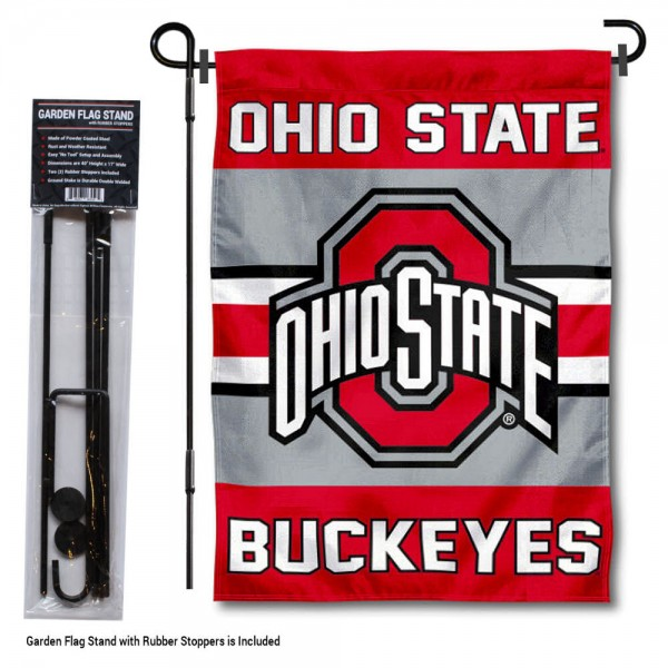 Ohio State Buckeyes Garden Flag and Holder