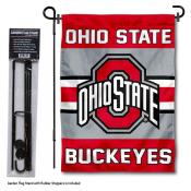 Ohio State Buckeyes Garden Flag and Holder