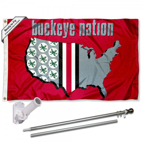 Ohio State Buckeyes Nation Logo Flag and Bracket Flagpole Kit