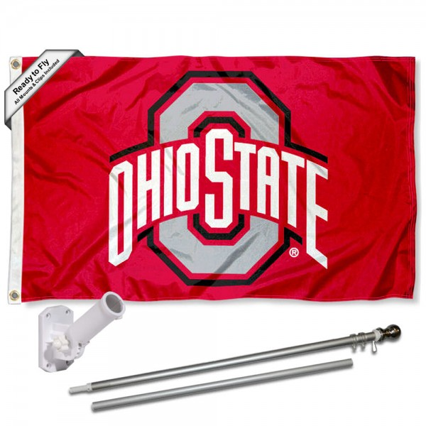 Ohio State Buckeyes Scarlet Flag and Bracket Flagpole Kit