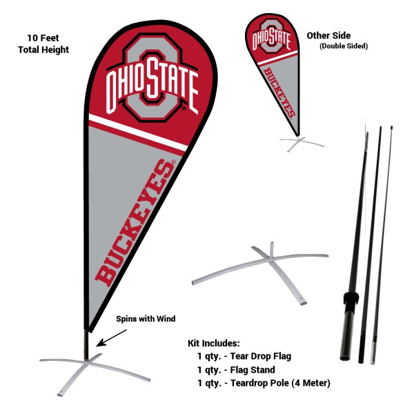 Ohio State Buckeyes Teardrop Flag and Stand Kit
