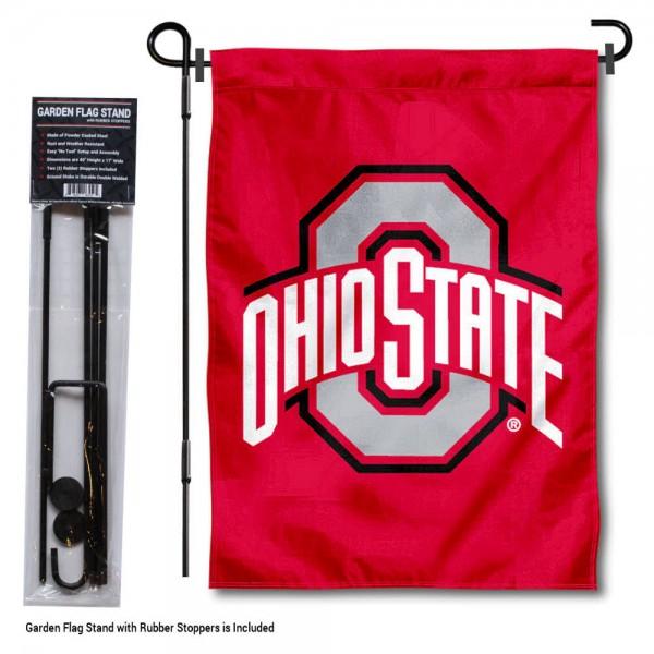 Ohio State University Garden Flag and Holder