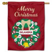 Oklahoma Sooners Christmas Holiday House Flag
