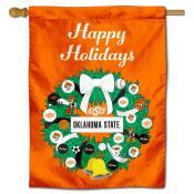 Oklahoma State Cowboys Christmas Holiday House Flag