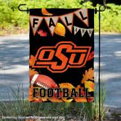 Oklahoma State University Cowboys Fall Leaves Football Double Sided Garden Banner