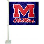 Ole Miss Blue Car Flag